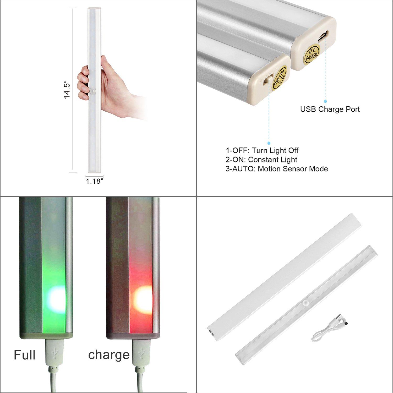 HogarTech Lámpara LED del Armario, 20 LEDs Recargable Inalámbrica con Sensor de Movimiento para Armario,Cocina,Mostrador,Cajón: Amazon.es: Iluminación