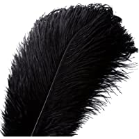 20pcs Natural Ostrich Feathers Plume - 10-12inch(25-30cm) for Wedding Centerpieces Home Decoration (25-30cm,Black)
