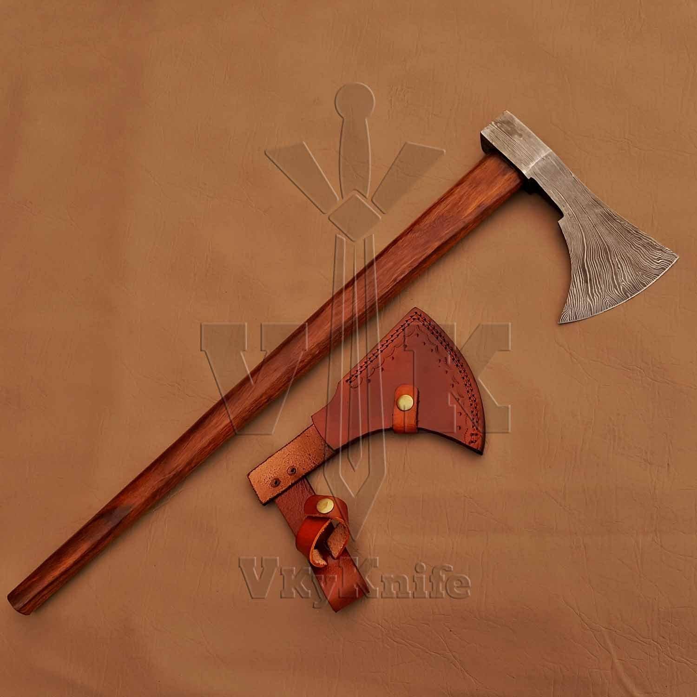 Vky Knife Handmade Damascus Steel Axe Hatchet Tomahawk Knife - 25 Inches AXE Rose Wood Handle