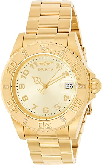 Invicta Women's Pro Diver 40mm Gold Tone Stainless Steel and Diamond Quartz Watch, Gold (Model: 15249)