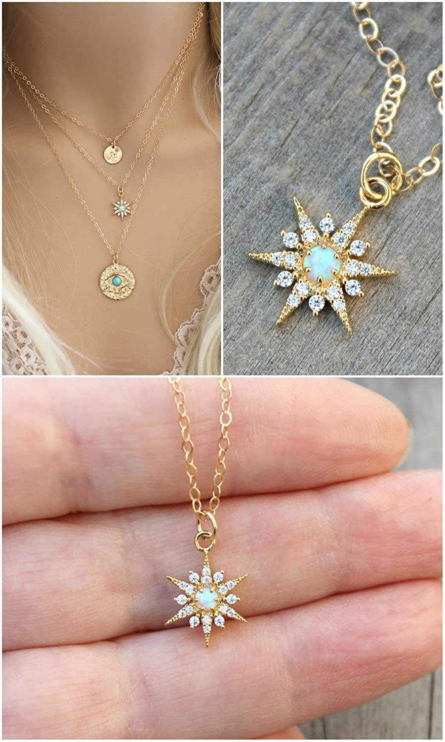 ce2e6f6745705 Amazon.com: Starburst necklace, Blue Opal, 14k gold filled chain ...