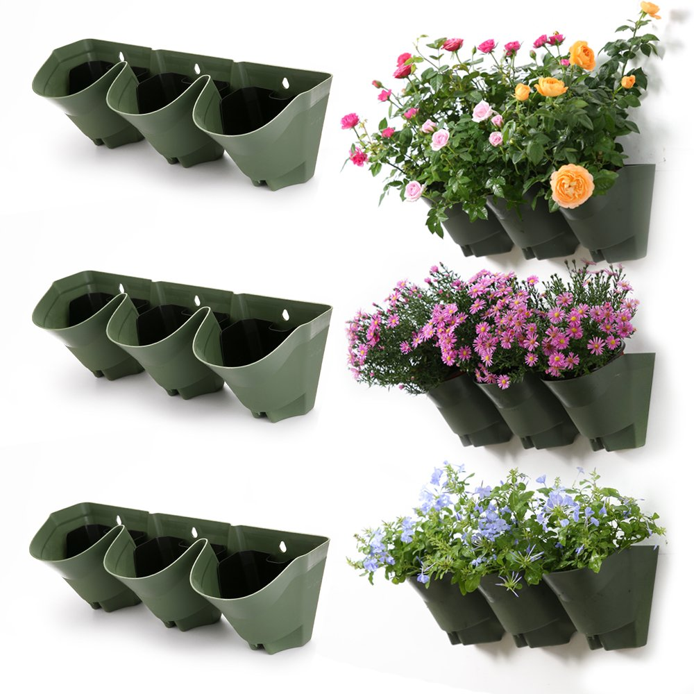 Worth Garden 3-Pack Olive Green Self-Watering Vertical Garden Wall Planters