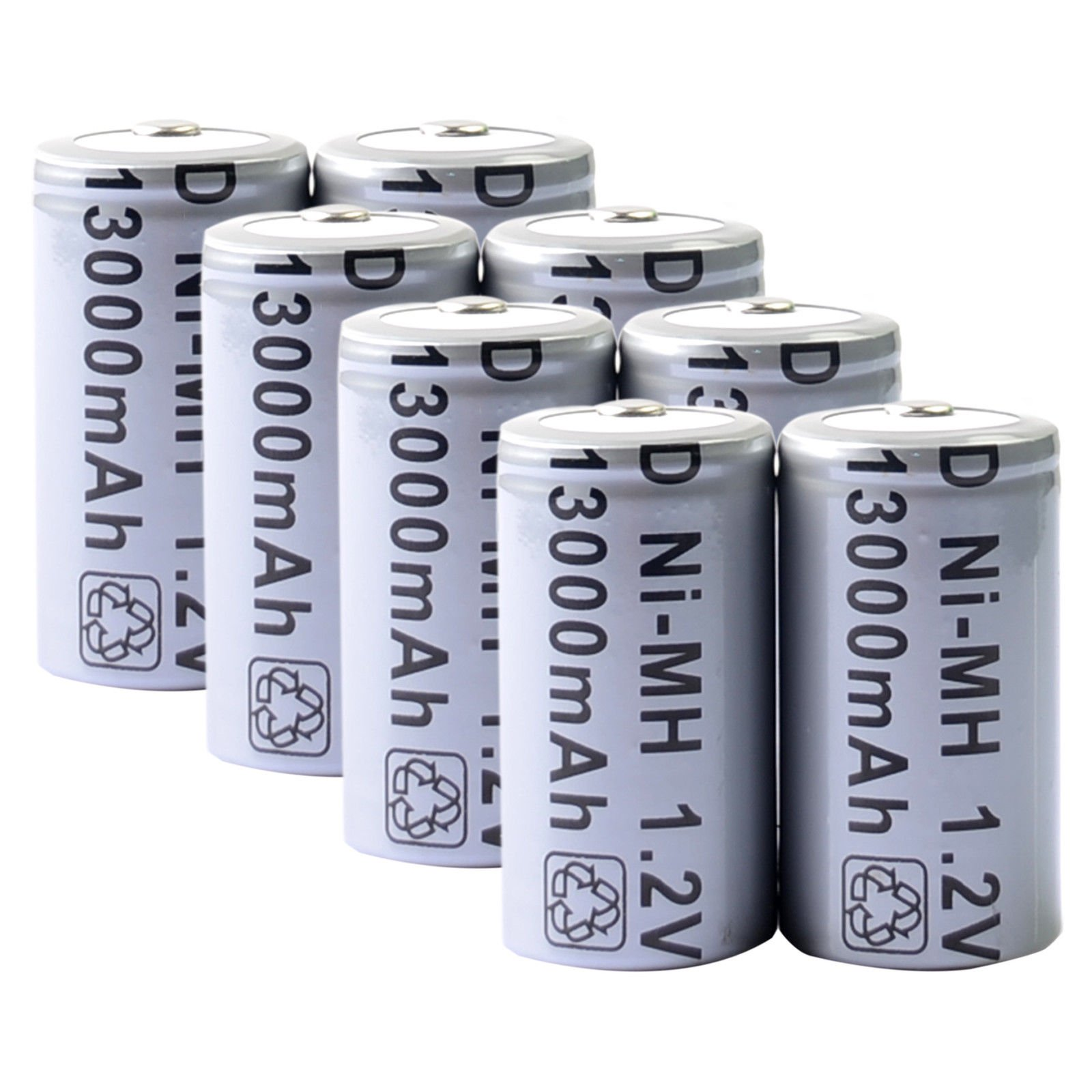 Toyofmine 8pcs D Size Rechargeable Battery D Type 13000mAh 1.2V Ni-MH Cell Grey by toyofmine