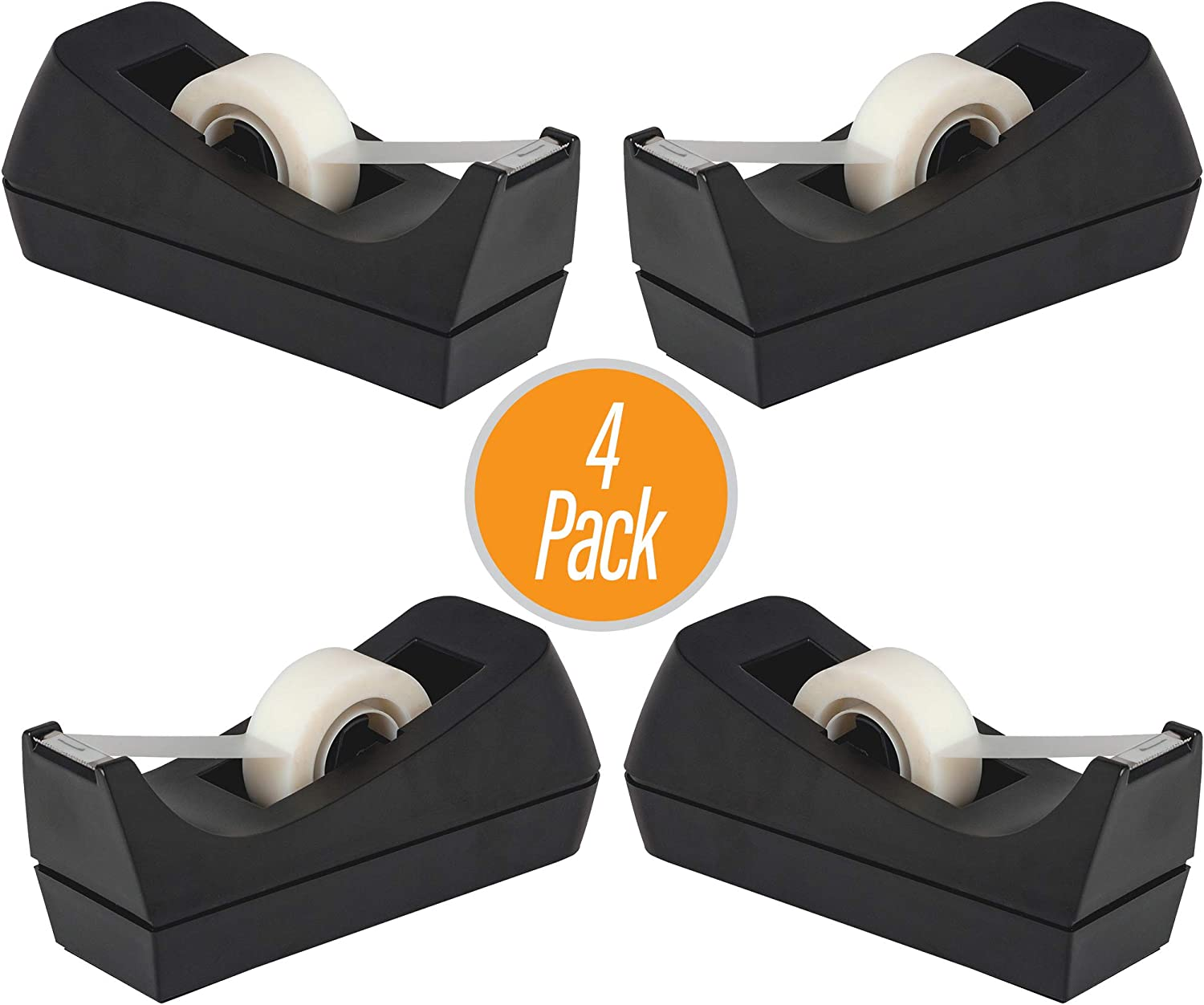 Desktop Tape Dispenser - Non-Skid Base - Weighted Tape Roll Dispenser - Perfect for Office Home School (Tape not Included) - (4-Pack)