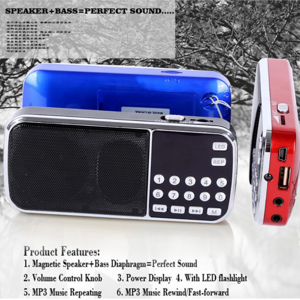 Mercu Portable Mini USB Player FM Radio Outdoor Double Loudspeaker Music Player Micro SD/TF Card For PC iPod Phone(Red) by Mercu (Image #4)