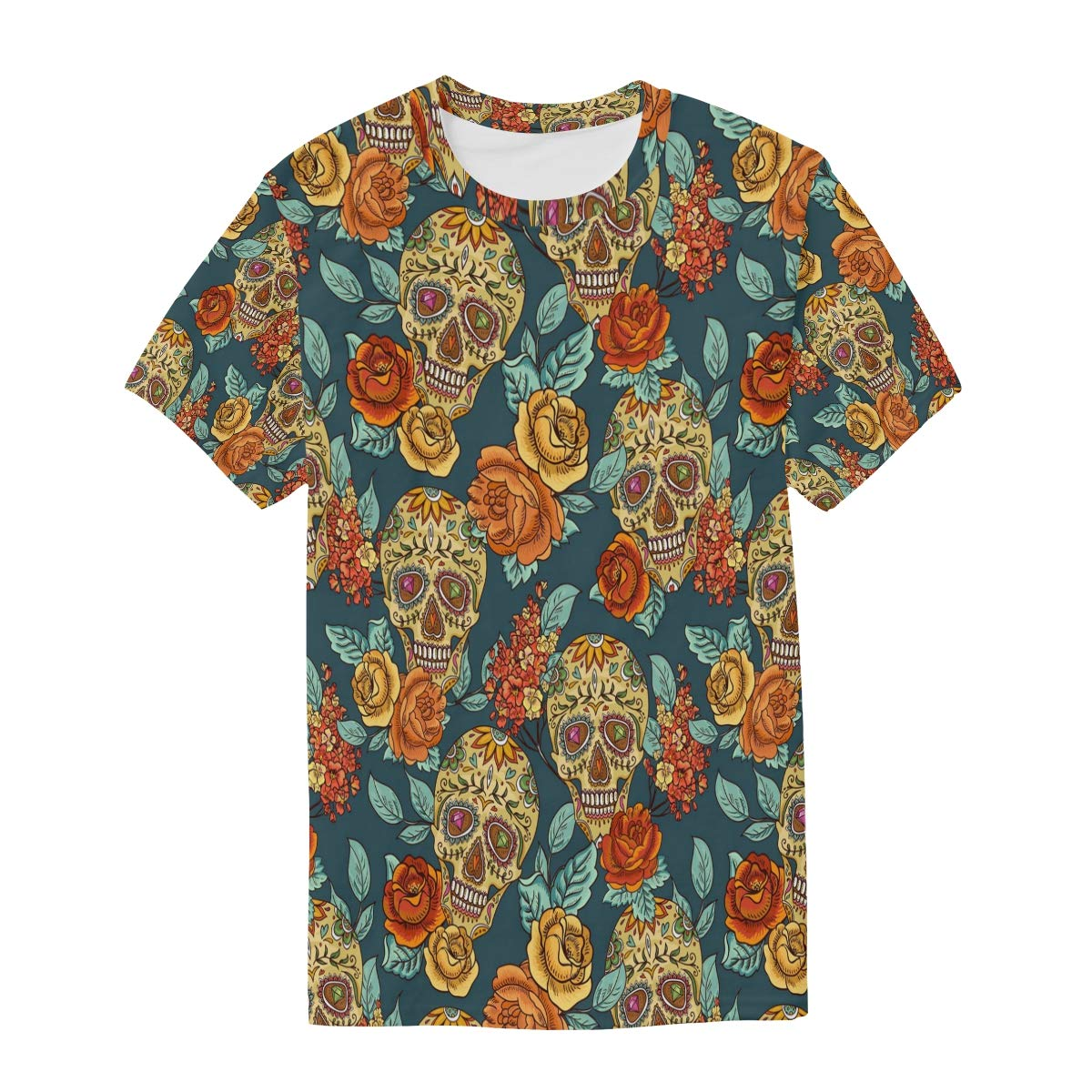Horatiood Huberyyd Color Fashion Rose Skull Mens T Shirts Graphic Funny Body Print Short T-Shirt Unisex Pullover Blouse