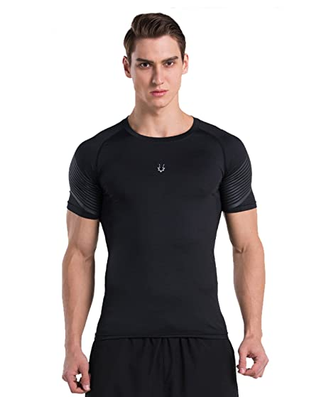 4b9b45ce2cd CAIKENI Men s Compression Round Collars Short Sleeve T Shirts Athletic Cool  Dry Baselayer For Fitness Stretch