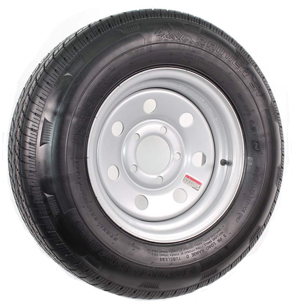 Radial Trailer Tire On Rim ST185//80R13 13X4.5 Silver Modular 5 on 4.5