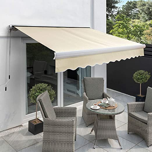 Primrose 3 0m X 2 5m Manual Electric Awning Full Cassette Diy Patio Awning Gazebo Canopy 9ft 10 Complete With Fittings And Winder Handle Electric Ivory Amazon Co Uk Garden Outdoors