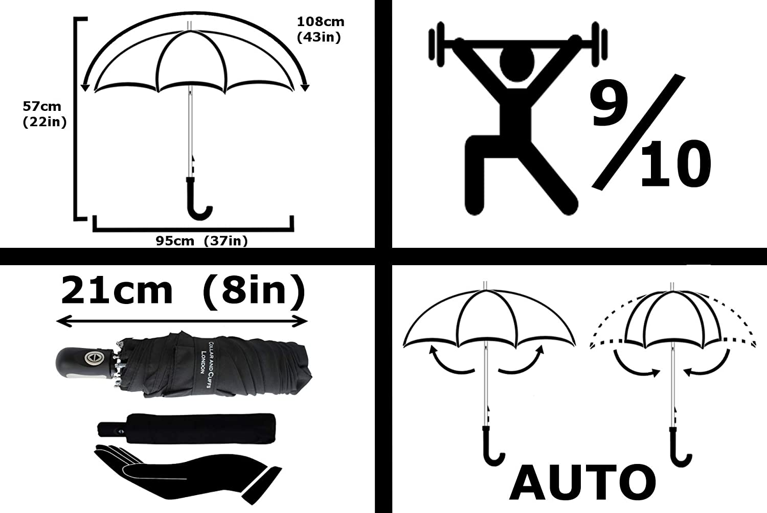 Small Compact Folding Umbrella Black CCLSTORMPUMB10265 Just 8in When Closed COLLAR AND CUFFS LONDON RARE MINI WINDPROOF UMBRELLA with AUTO OPEN AND CLOSE STRONG