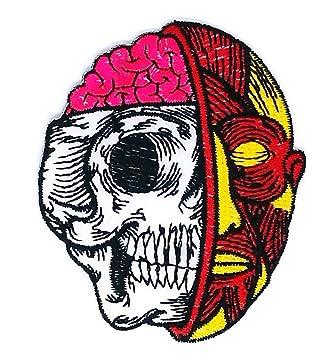 2,75 pulgadas x 3,5 pulgadas cráneo fantasma rosa cerebro Cartoon Sew hierro. Pasa ...