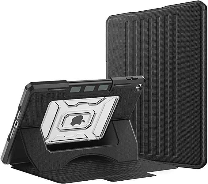 """MoKo Funda Compatible con New 8ª Gen 2020 / iPad 7ª Generación 2019, Protector de PC Transparente de Múltiples Ángulos de Visión con Auto Sueño/Estela para Apple iPad 10.2"""" - Negro"""