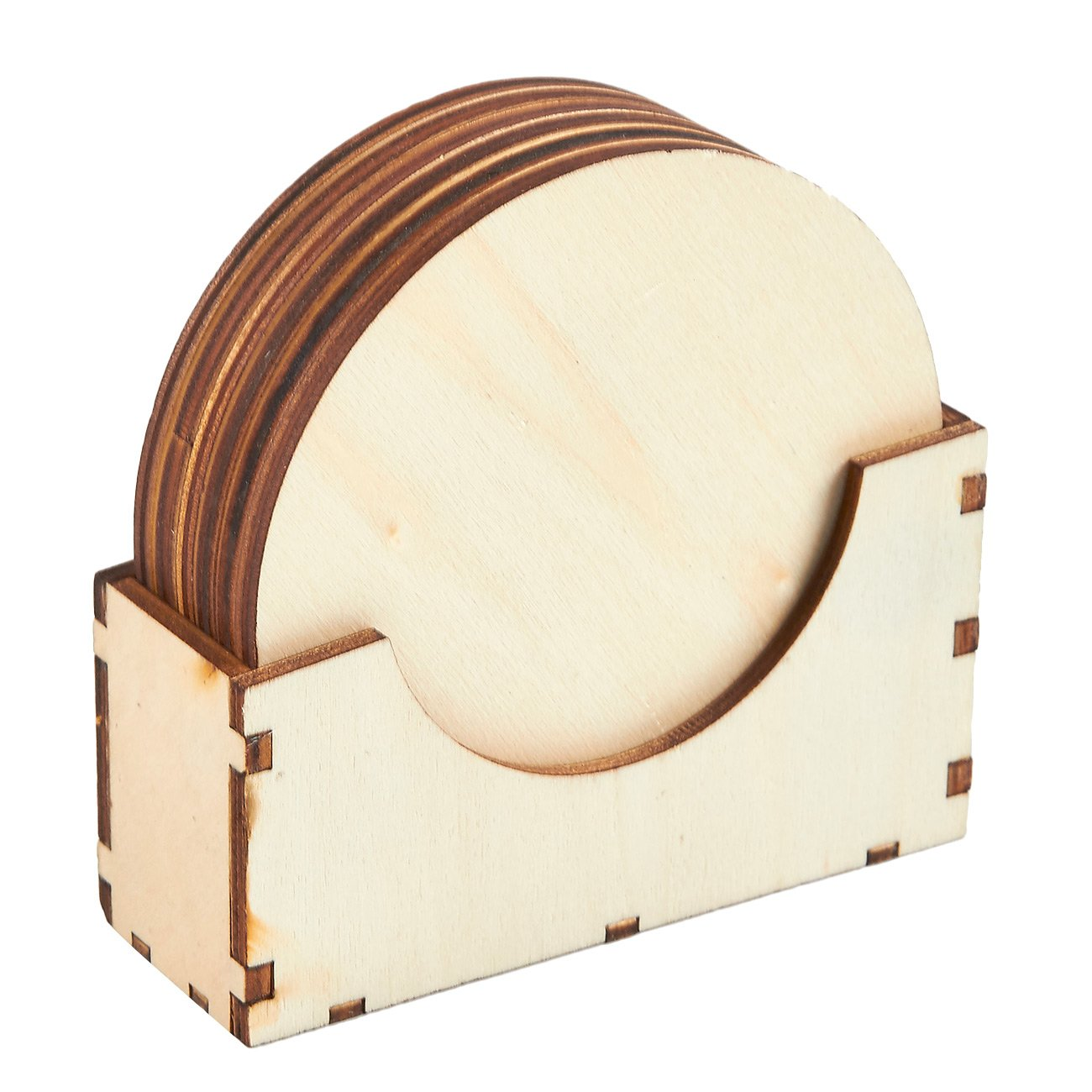 Wood Coasters - 6-Pack Round Wooden Drink Coasters with Holder, Unfinished Wood Circle Cup Coasters for Home Kitchen, Office Desk, 3.875 Inches Diameter by Juvale (Image #4)