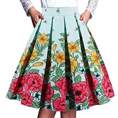 c059e7f51b58 PARTY LADY Womens Vintage Skirt Floral Printed A Line Midi Skirts Size S  Beers