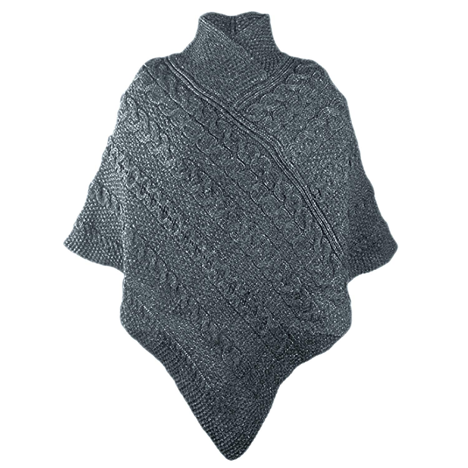 be3ef6d6f Amazon.com: 100% Merino Wool Aran Crafts Ladies Knit Poncho Charcoal:  Clothing