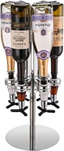 HIBEKOL 6-Bottle Revolving Liquor Dispenser Rotating Bartender Alcohol Carousel Dispenser Bar Caddy Shot Dispenser for Liquor Bottles Beverage Liquor Whiskey Holder