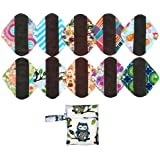 10PCS 8 Inch Light Charcoal Bamboo Mama Cloth/ Menstrual Pads/ Reusable Sanitary Pads Panty liner