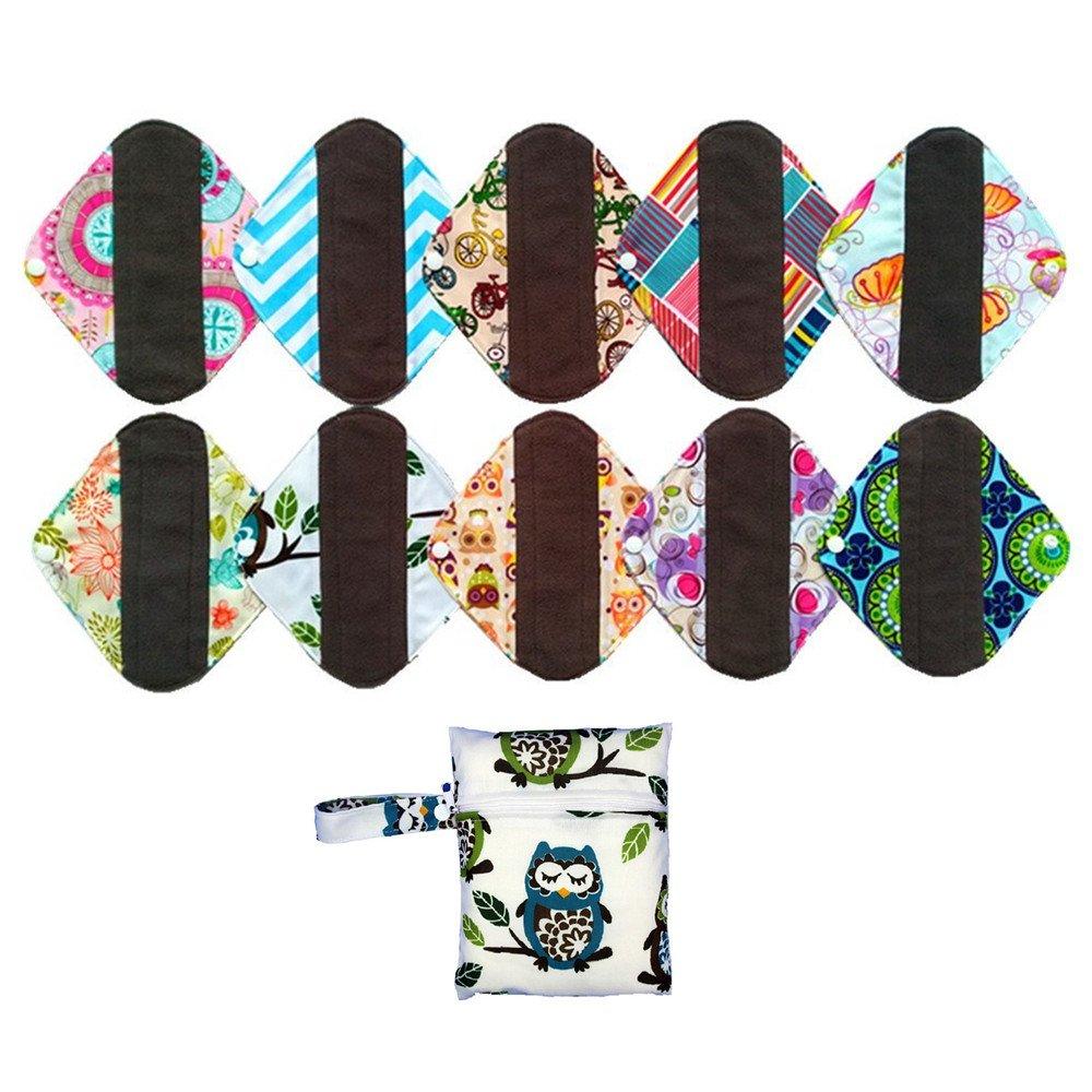 10PCS 8 Inch Light Charcoal Bamboo Mama Cloth/ Menstrual Pads/ Reusable Sanitary Pads Panty liner