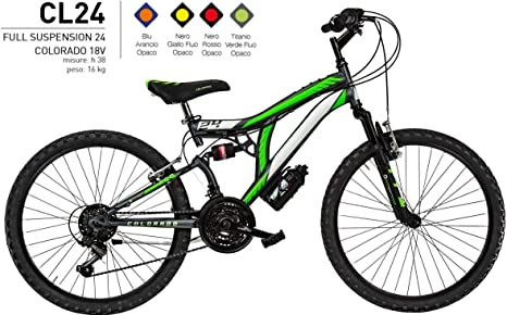 CICLI PUZONE Bicicleta de Medida 24 niño MTB Full Suspension 18 V Colorado Art. CL24.: Amazon.es: Deportes y aire libre