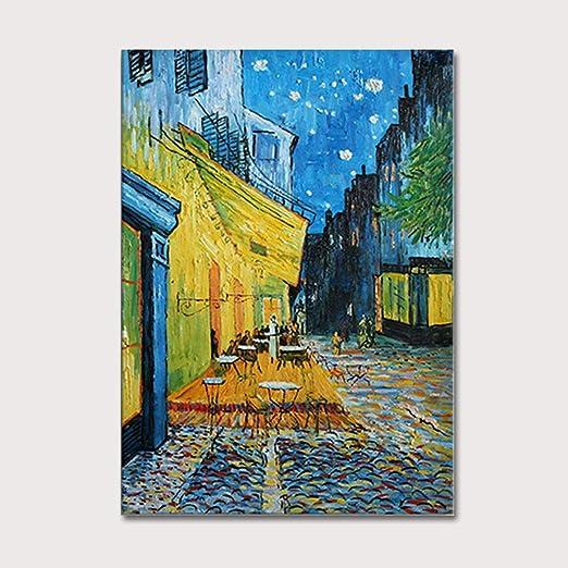 Cyacc Pintura Al óleo Pintada A Mano Café Terraza En La