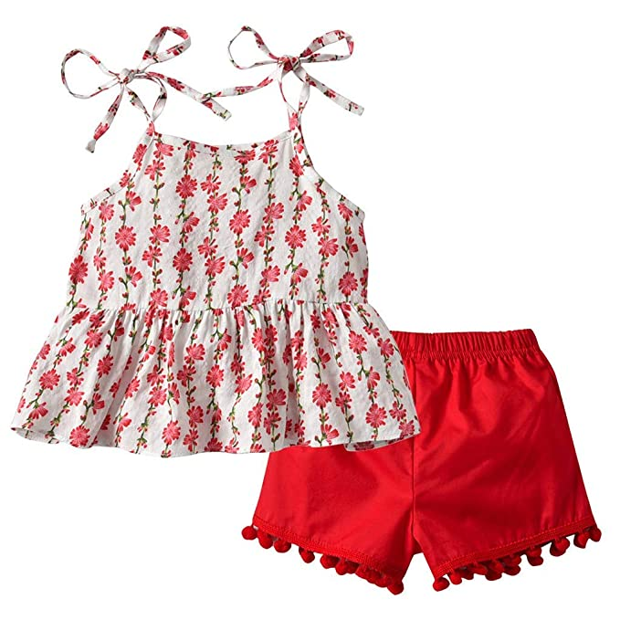 Ding-dong Tollder Kid Girl Summer Floral Ruffle Tops+Bowknot Shorts 2 Pieces Sets Outfit