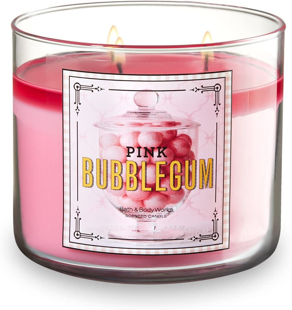 Bath and Body Works 3-Wick Pink Bubblegum Scented Candle 14.5 Ounce