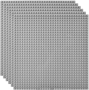 "Lekebaby Classic Baseplates Building Base Plates for Building Bricks 100% Compatible with Major Brands-Baseplate 10"" x 10"", Pack of 6, Grey"