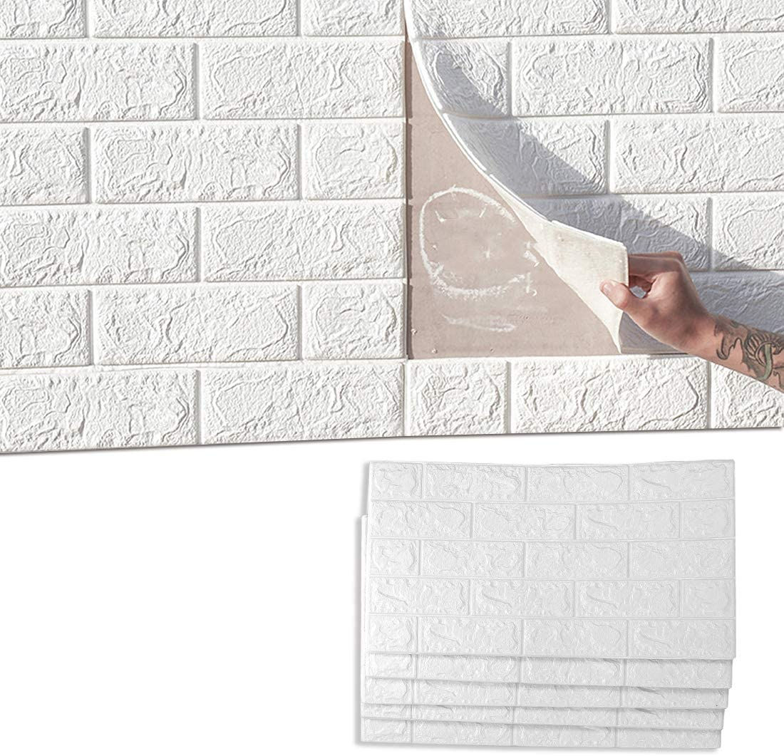 jxgzyy Self Adhesive Foam Wall Paper 10 Pack 3D Brick Textured Wall Covering Panels White Faux Art Wallpaper Wall Tiles for Bedroom Living Room Background TV Decor