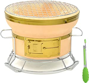 Small Round Hibachi Charcoal Grill, Japanese Ceramic Clay Tabletop Charcoal Stove Portable Yakitori BBQ Cooker with Handles And Food Tongs for Camping Or Home