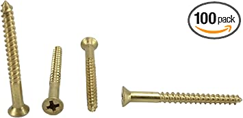 #8 x 1//2 100 Pack 1//2 to 1-1//2 in Listing #8 x 1//2 Solid Brass Flat Head Philips Wood Screw