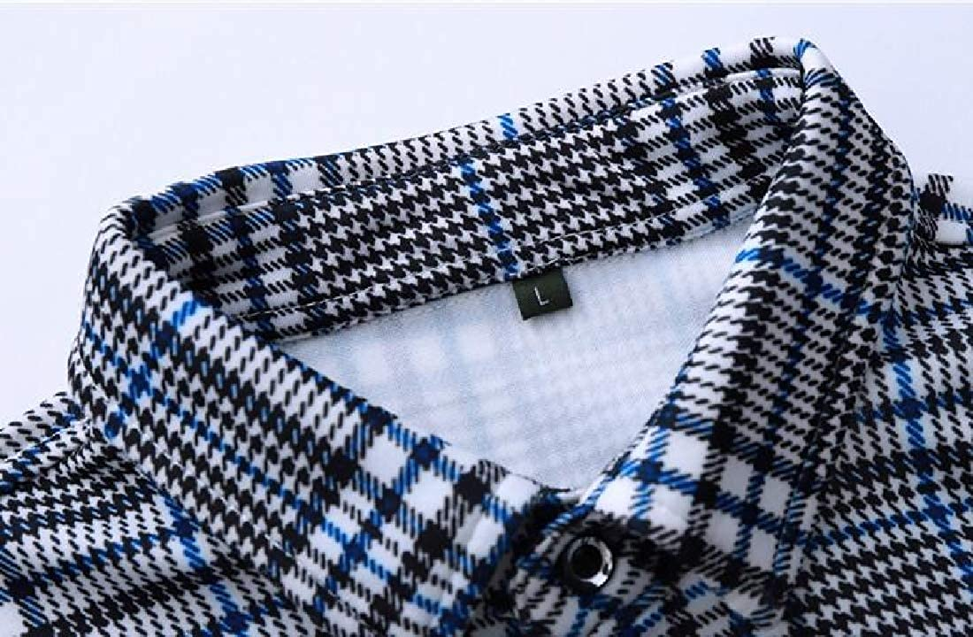 SHOWNO Mens Shirts Plaid Business Big /& Tall Long Sleeve Button Up Dress Shirt Top