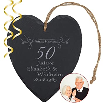 Schieferherz Goldene Hochzeit Natur Persönliches Schiefer Herz Mit Namen Gravur Und Datum Geschenkidee 50 Jahre Ehe 50 Hochzeitstag