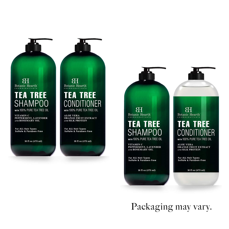 Botanic Hearth Set de champú y acondicionador de árbol de té – con aceite de árbol de té 100% puro, para cuero cabelludo seco y con comezón, sin sulfatos, sin parabenos, para hombres y mujeres, 2 botellas de 16 fl oz cada una