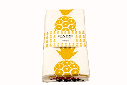Candy Cottons Kitchen Dish Towels, 100% Cotton Extra Large Tea Towels,  Pineapple Printed, Pack of 3 Kitchen Towels of Size 18 X 28 Inches, for