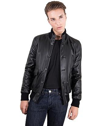 D Arienzo - Alex Bottoni • Couleur Noir • Blouson Cuir Homme Style Bomber  Cuir plongé  Amazon.fr  Vêtements et accessoires 2cab44e0d4f