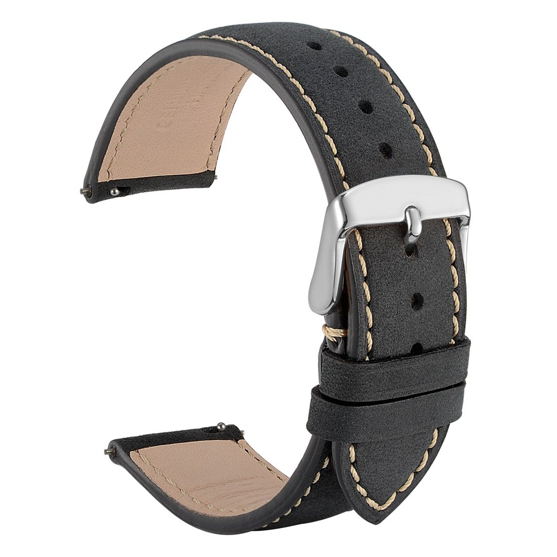 WOCCI 18mm Suede Vintage Leather Watch Band with Pins Buckle, Quick Release Strap (Black with Contrasting Seam)
