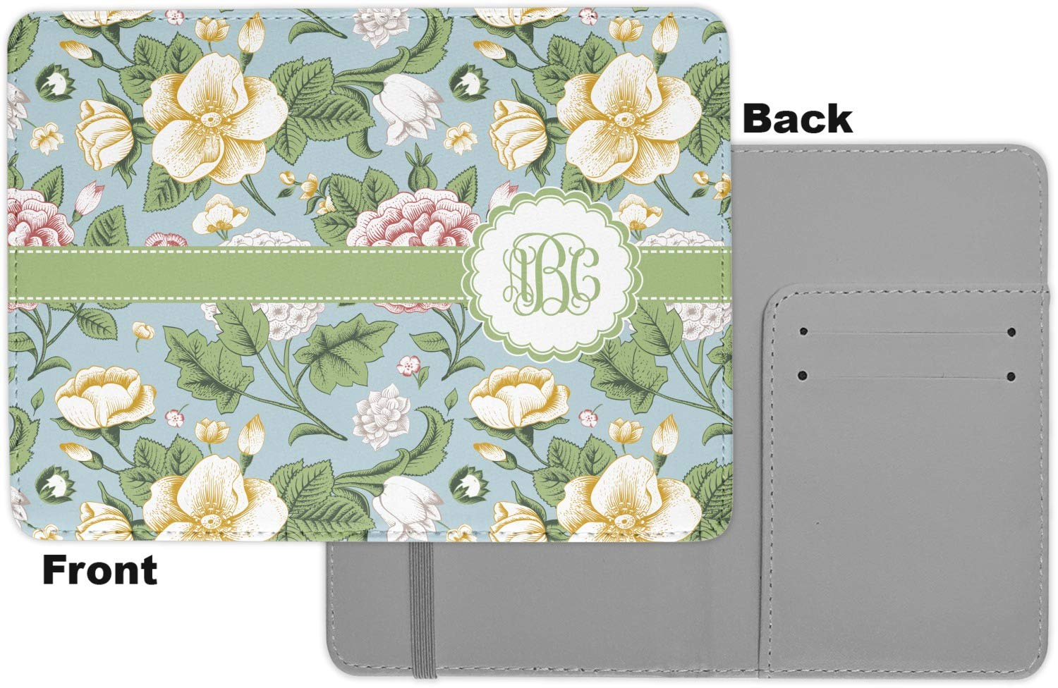 Fabric Vintage Floral Passport Holder Personalized