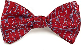 product image for Josh Bach Men's Science and Chemistry Self-Tie Silk Bow Tie in Red, Made in USA