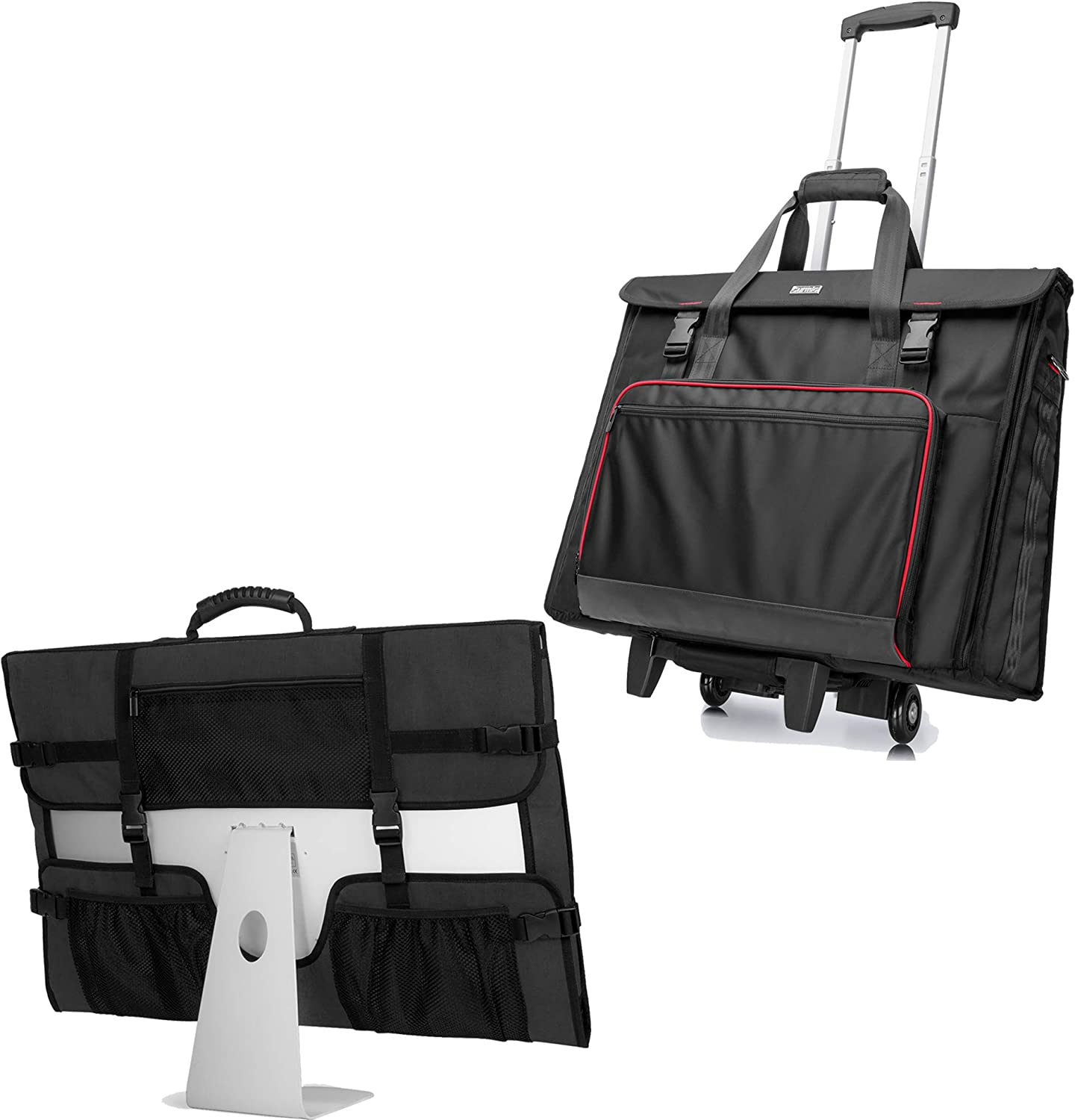 CURMIO Tote Bag with Rubber Handle, Rolling Carrying Bag with Wheels Compatible with Apple iMac 21.5 inch Desktop Computer, Black, Patented Design