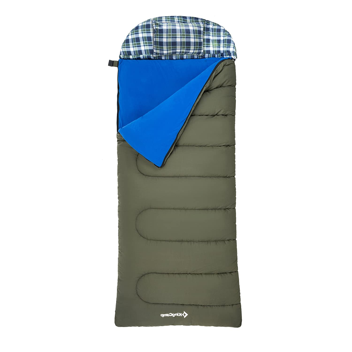 KingCamp Oversize 3-in-1 Cotton Adult Alpine 3 Season Sleeping Bag with Removable Cotton Flannel Liner and Pillow