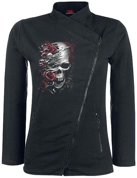 Spiral Direct Skulls N Roses-Slant Zip Women Biker Jacket ...