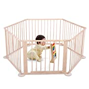 Sandinrayli Wood Baby Playpen 6 Panel Kids Safety Play Center Yard Home Indoor Outdoor Fence