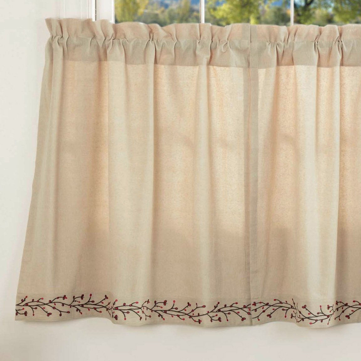 Twig & Berry Vine Tier Curtains, 36'' Long, Beige w/Embroidered Berries, Farmhouse Country Primitive Café Curtains