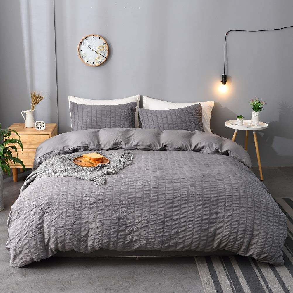 M&Meagle 3 Pieces Dark Grey Duvet Cover Textured Set with Zipper Closure,100% Washed Microfiber Seersucker Fabric,Luxury Hotel Quality Bedding-Queen Size(1 Duvet Cover 2 Pillowcases)