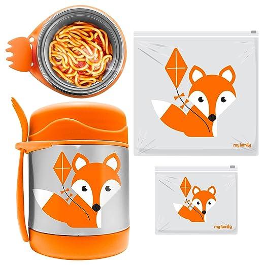 My Family 10 Hours Hot Vacuum Insulated Food Jar + Reusable Slidelock Bag Combo (Orange)