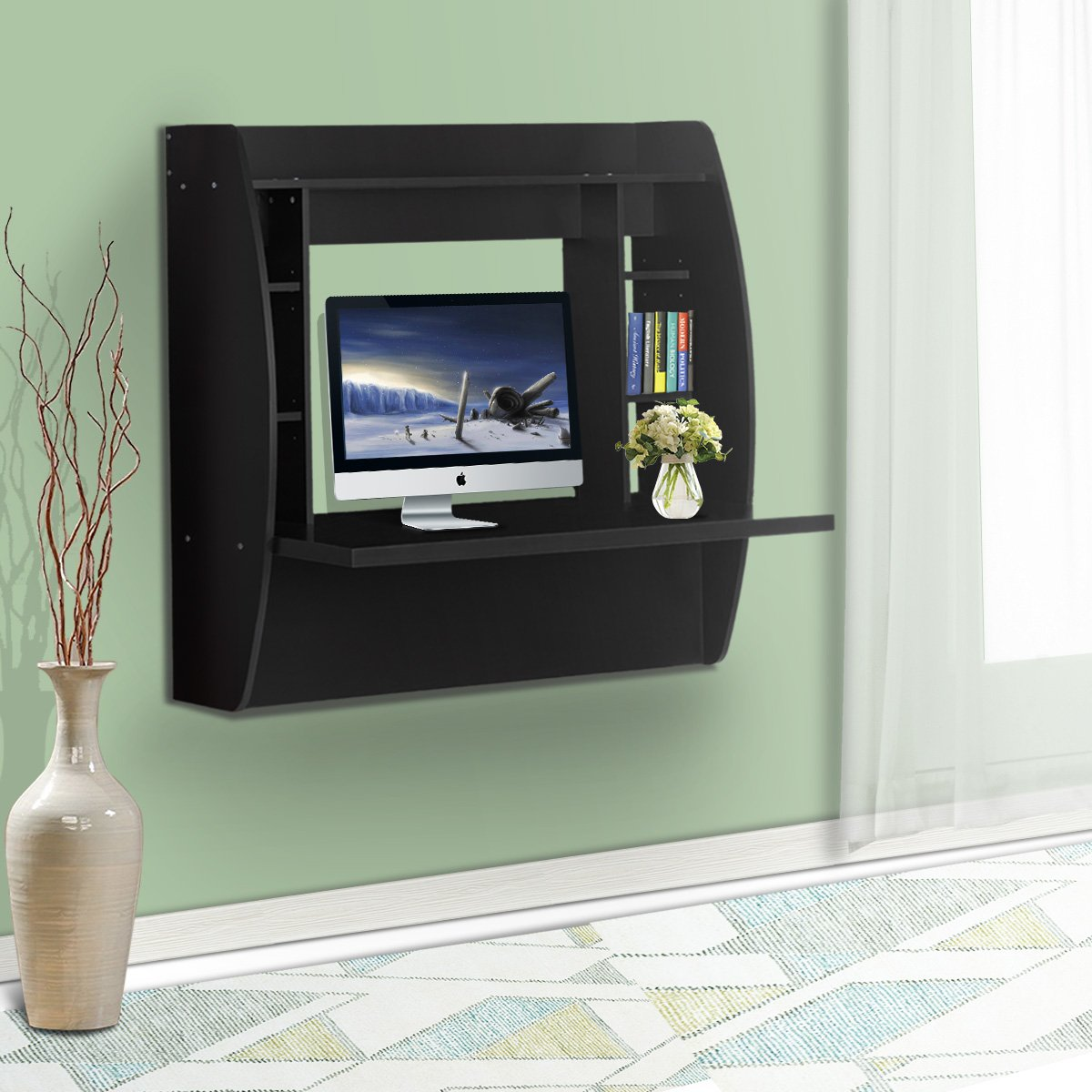 DEVAISE Wall Mounted Floating Desk with Storage / Black