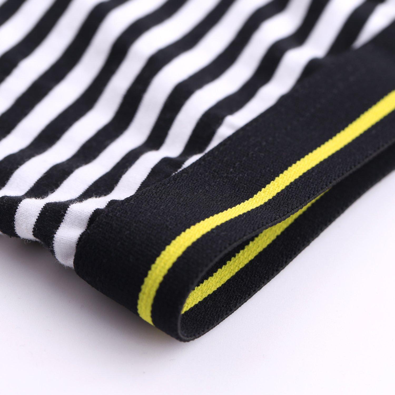 Men\'s Boxer Briefs Pack of 4 No Ride Up Boxer Brief Cotton Underwear Open Fly-S,Stripe T4