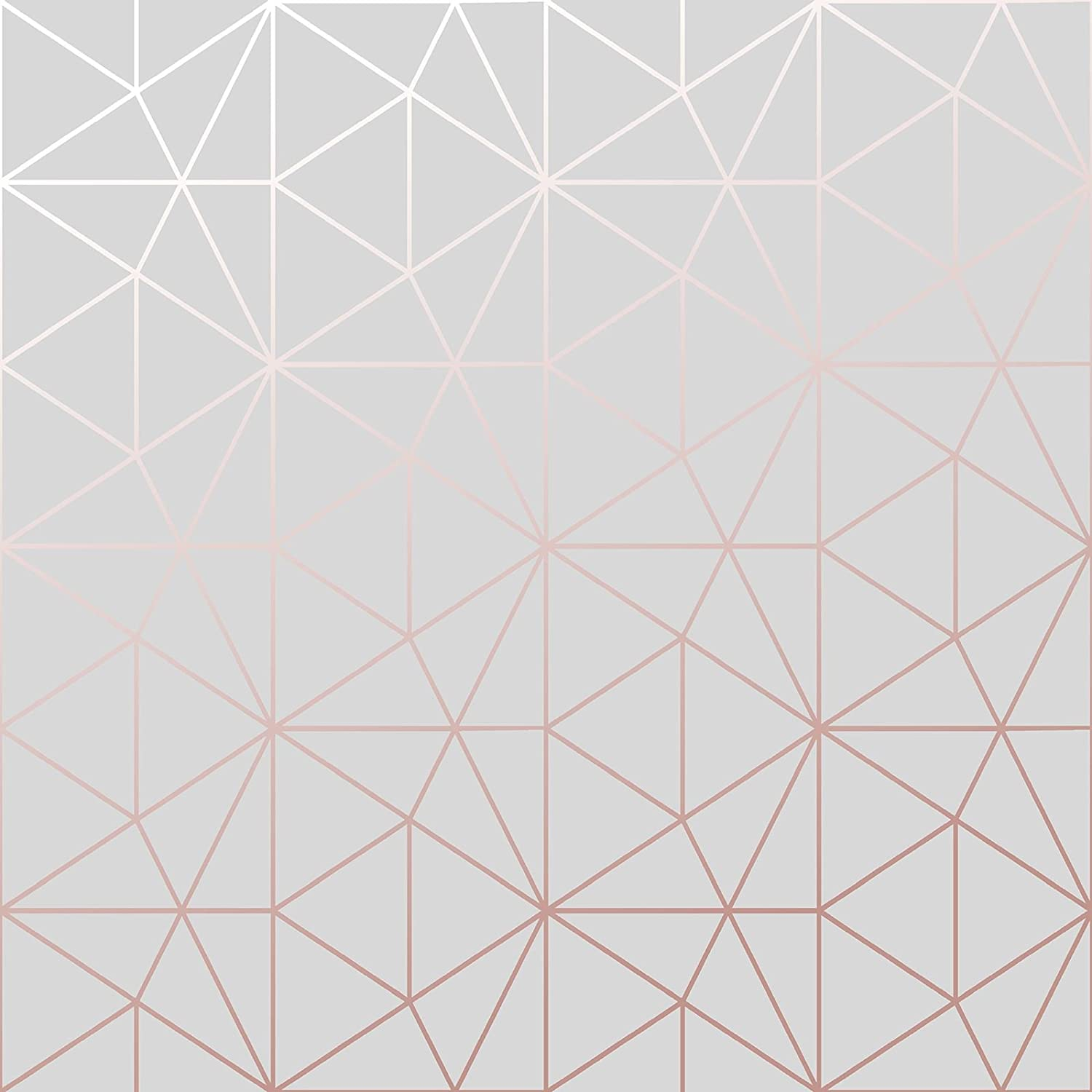 Metro Prism Geometric Triangle Wallpaper Grey And Rose Gold