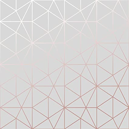 Metro Prism Geometric Triangle Wallpaper Grey And Rose Gold Custom Grey Pattern Wallpaper