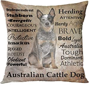 Accrocn Throw Pillow Covers Australian Cattle Dog With Alphabet Gray Vintage Style Cushion Decorative Pillowcases Polyester 18 x 18 Inch Square Pillowcase Hidden Zipper